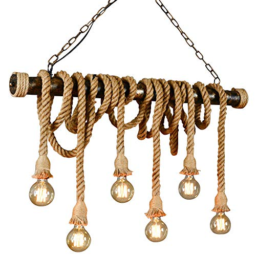 Ruanpu Vintage Seil Hängelampe Pendelleuchte Kronleuchter Industrielle E27 Sockel für Wohnzimmer Esszimmer Restaurant Café Hotel Diele Dekoration (Keine Leuchtmittel)