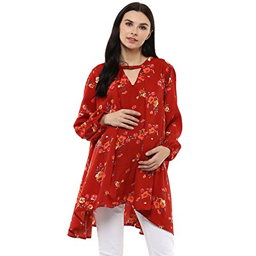 Wobbly Walk Women's V-Neck, Full Sleeves, Floral Print, Maternity Top, Orange