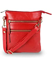 Qawach Red Color Women's Leather Sling Bag