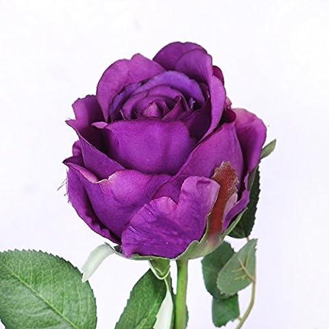 Pingofm Rose Rose bouquets d'Émulation Table de salle à manger Table basse arrangements floraux Continental Fleurs Artificielles en soie Vase à fleurs Pots décorée Salon au British Flower-glass Fleurs Artificielles