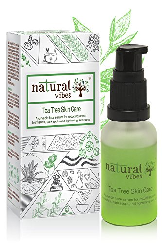 Natural Vibes ~ Ayurvedic Tea Tree Skin Repair Serum 30 ml ~ Reduces acne, blemishes, dark spots and lightens skin tone