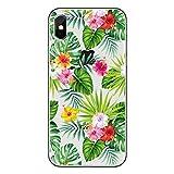 Freessom Coque iPhone X Silicone Feuille Fleur Floral Exotique Transparente Motif Dessin Vert avec La Pomme Souple Fantaisie Ultra Fine Cover Protection Cadeau Pas Cher