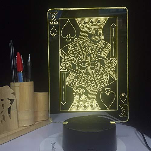 Lampe-Illusions-Licht Ostern-Dekoration Flash-LED des Poker-Königs 3D für Tabellen-Schreibtisch-Nachtlicht mit 7 Farben USB-Touch-Party-Dekor, Fernbedienung -