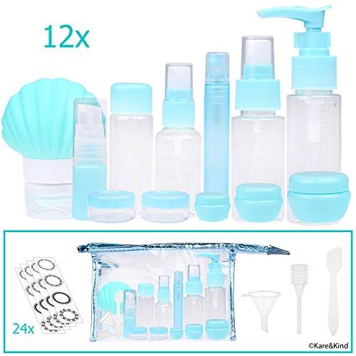 Reiseflaschen-Set – Nachfüllbar – TSA/für Flugzeuge zugelassen – 12 Flaschen und Gläser – 3 Hilfsmittel (Pipette, Trichter und Minispachtel) – Für kleinere Portionen Ihrer Lieblingskosmetika, Lotionen und Cremes (3-unzen-sprühflasche)