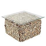 Massiver Treibholz Couchtisch FOSSIL 70cm Handarbeit mit Glasplatte Tisch Beistelltisch Wohnzimmertisch Holztisch