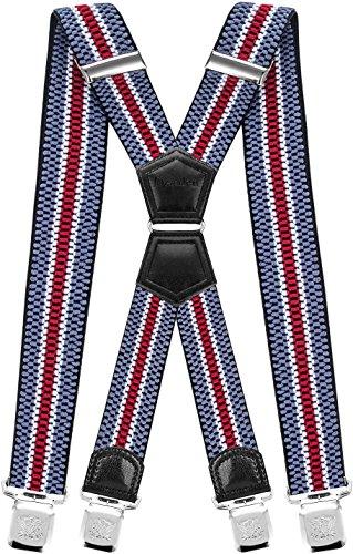Decalen Hosenträger für Herren mit 4 Starken Clips X Form Lang Eine Größe Passt Alle Verschiedenen Farben (Blau Weiß Rot) (Polyester Model)