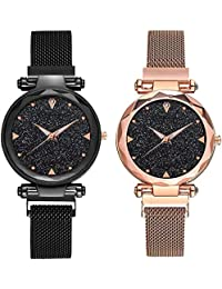 KDENTERPRISE Casual Designer Magnet Analogue Quartz Movement Black dial Wrist Watches for Women Girls Pair of 2…