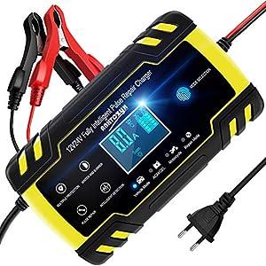 NWOUIIAY Autobatterie Ladegerät 8A/12V Batterieladegerät Auto Vollautomatisches Ladegerät Aktualisierte Version 6A/24V Autobatterie Ladegerät mit LCD-Bildschirm Batterieladegerät für Auto und Motorrad