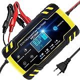 Chargeur de Batterie Intelligent Portable 8A 12V/24V LCD Écran avec Protections Multiples Type de réparation pour Batterie de Voiture Moto...