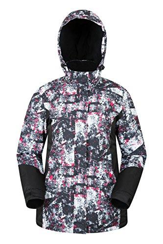 Mountain Warehouse Dawn Skijacke für Damen - Schneedicht, warm, Fleecefutter, Bündchen, Saum und Kapuze zum Verstellen - Ideale Skibekleidung bei kaltem Wetter Monochrome DE 48 (EU 50)