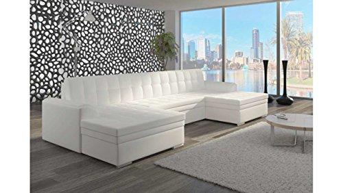 Justhome vento divano a u divano imbottito divano angolare finta pelle (lxlxa): 165x365x81 cm bianco