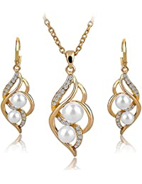 DesignIN Emelie Jewelry Set 18k Gold Plated Cubic Zircons Pearl Earrings & Necklace Set - White Pearls