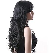 Songmics Peluca Larga Negra para Mujer Ondulada Pelo Rizado WFF041