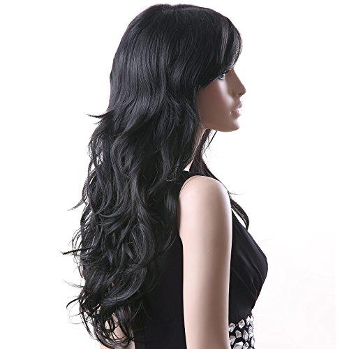 e Schwarz stilvoll gelockt Lang Haar Wigs für Karneval Cosplay Halloween WFF041 ()