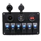 TurnRaise Panel de 6 interruptores basculantes con luces LED, impermeables, para coches o barcos, con voltímetro digital, encendedor de mechero de 12V y 2 cargadores adaptadores USB