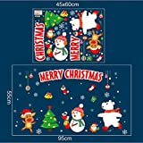 O-WMING Noël Autocollants de fenêtre Mobiles de Noël Art Stickers muraux Magasin de la Maison Magasin Magasin fenêtre fenêtre Stickers B