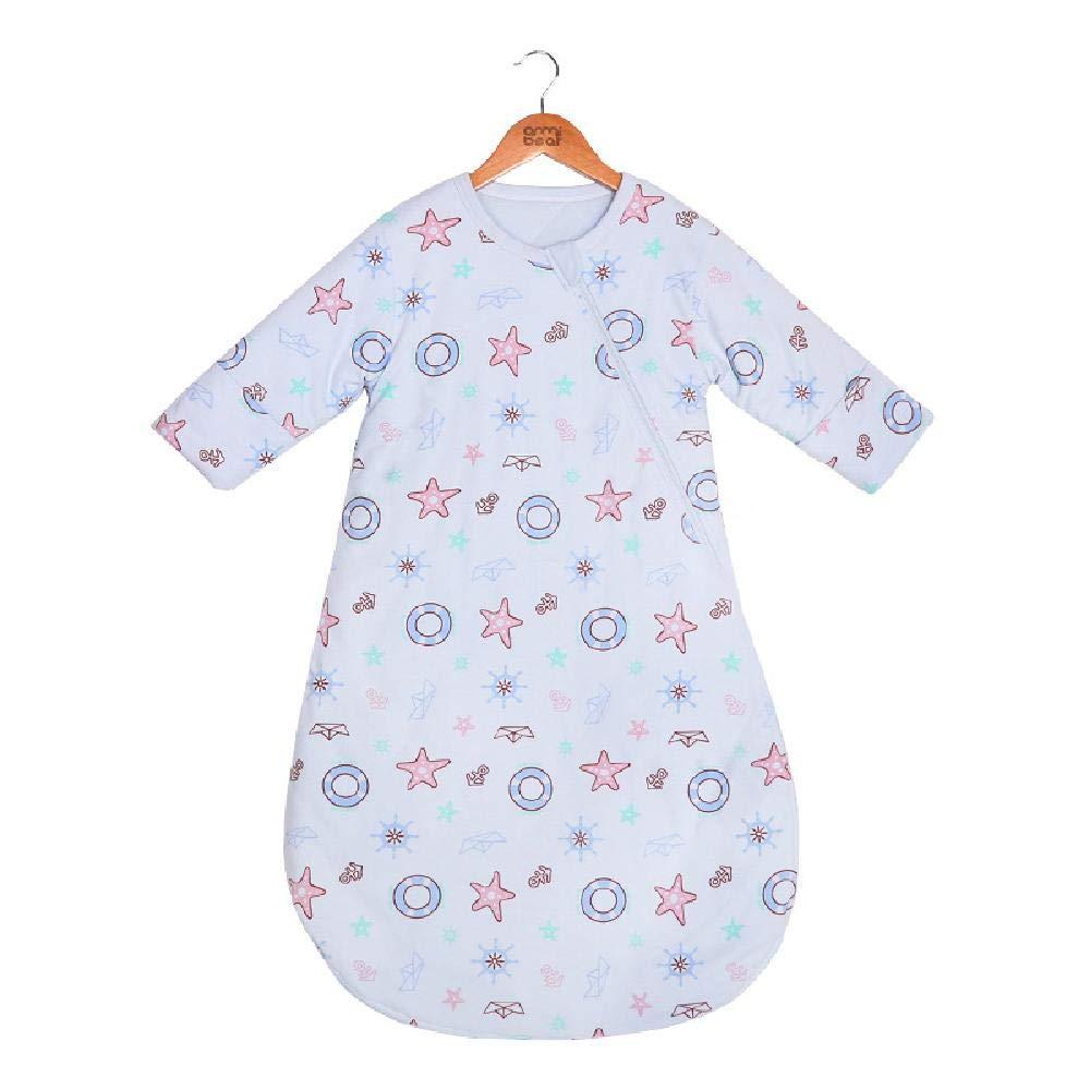 Bunnysun Saco de Dormir del bebé de Manga Larga de Invierno, 100% algodón orgánico Saco de Dormir, bebé algodón Anti-Caliente expulsado,Blue-M(75~90cm)