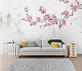 Murales 3D personalizados Foto Fondos de pantalla Flores, pájaros, montañas, magnolias, canicas, pared de fondo de TV @ 250 * 175 cm