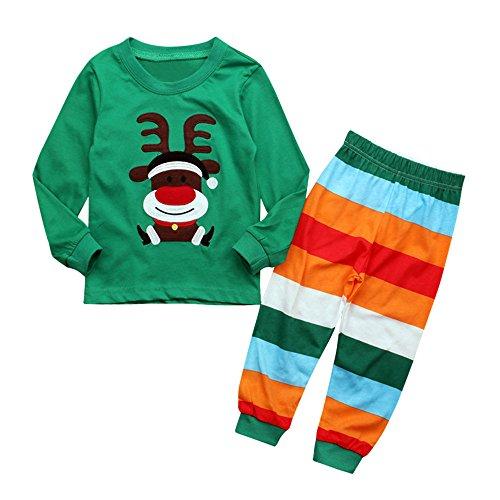Obestseller 2020 Kinder Unisex Baby Langarm Pullover Kinder Weihnachten Hirsch Print Top + Farbe gestreiften Hosen Zweiteiler Home Service 0-6 Monate