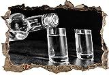 Monocrome, whisky alcool bouteille noir Vodka Bourbon Parti noir et blancpercée murale en apparence 3D, la taille de la vignette mur ou de porte: 62x42cm, stickers muraux, sticker mural, décoration murale