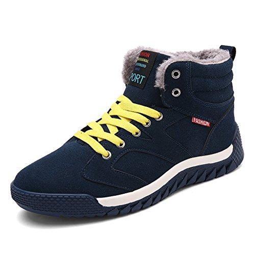 SITAILE Herren Sportschuhe Schnüren Winter Sneakers Freizeitschuhe Warm Gefütterte Winterschuhe,Grün,45 (Klassische Halbschuhe Gefütterte)