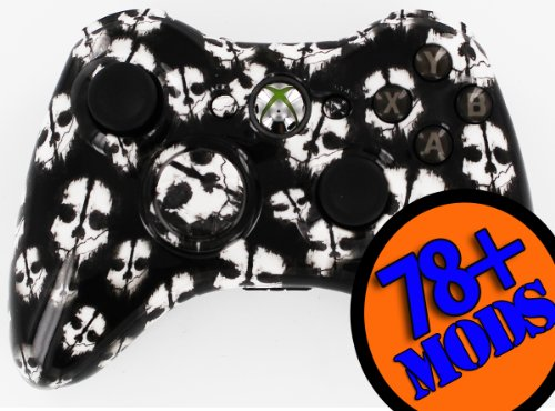 Xbox 360 Modded Controller Call of Duty Ghost White 78+ Mods Arbiter 3.5 + transparentes schwarzes ABXY + Tasche (Xbox 360 Modded Controller 10)