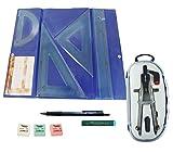 PACK LOTE Estuche tecnic SERIVAN Juego compuesto por Regla 30 cm, escuadra y cartabón de 25 cm...