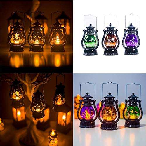 Xixini 1 Stück Halloween Lampe für Dekoration Laternen Retro led Laterne hängen kerzenlicht Party (Orange)