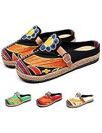 43a4a897 Gracosy Walking Slip-On, Sandalias Mules Para Mujeres Zapatos de Playa  Coloridos Bordados Ocio Al Aire Libre Zuecos de Jardín Home…