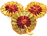 #3: 25 Pcs. Small Gota Flowers In Red-Gold Color for Embroidery clothing decoration,Jewellery making