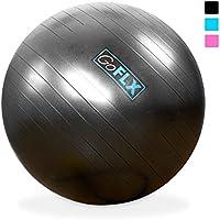 Pelota GoFLX™ para Yoga de 75cm con sistema antipinchazos e inflador (Gris)- límite de peso200kg
