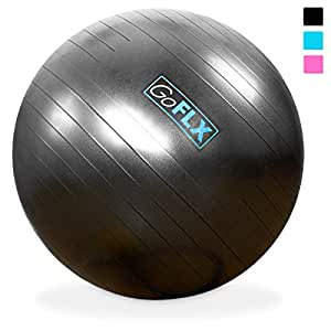 Exercise Ball, GoFLX 75cm Yoga Pilates Birthing Stability Swiss Gym Ball with Pump 200kg (440lbs) Weight Capacity - Grey
