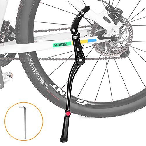 WOTEK Fahrradständer, Seitenständer Fahrrad Universal Aluminiumlegierung Fahrrad Ständer Rutschfester Gummiständer, Mountainbike, Rennrad, Fahrräder und Klapprad, Höhenverstellbar| 24-29 Zoll