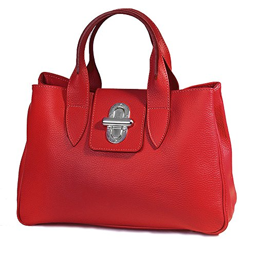 Italienische Henkeltasche Handtasche edel Kelly echt Leder inkl. Trageriemen Farbwahl rot , 36,5x24x18 cm (B x H x T) (Leder Italienische Rote)