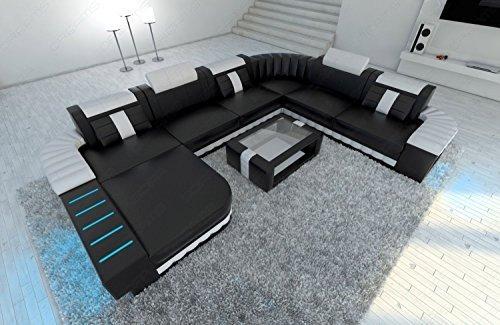 cuir intérieur de la maison Bellagio XXL avec éclairage LED NOIR ET BLANC