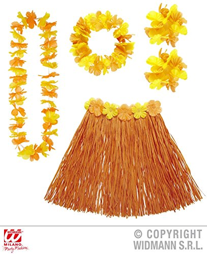 5 - teiliges HAWAII - SET orange / gelb, Suedsee Luau Aloha Karibik Beach Strand