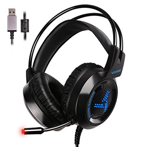 Houson usb gaming headset 7.1surround sound per ps4pc laptop–cuffie gaming stereo 4d 7led luce effetto grande paraorecchie con microfono speaker gioco cuffie