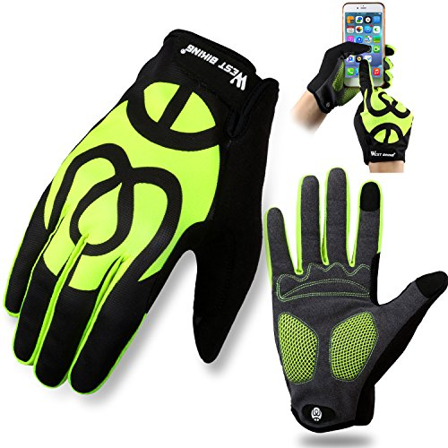 West Biking Cycling Gloves for Men Women Ladies, Full Finger Windproof Gel Padded Silicone Touch Screen Spring Glove for Smart Phone Mountain MTB Bicycle Riding Road Racing