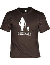 Hundeversteher T-Shirt Gassimann - Veri Set Hunde T-Shirt und Urkunde - Hunde Cartoon Motiv aus einem Hundebesitzer Leben in braun : )