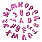 Feelaa 26 Buchstaben Set Kleidung Aufnäher Aufbügler DIY Patch Applikation Stickerei für Jeans, Jacken, Hosen (Pink)