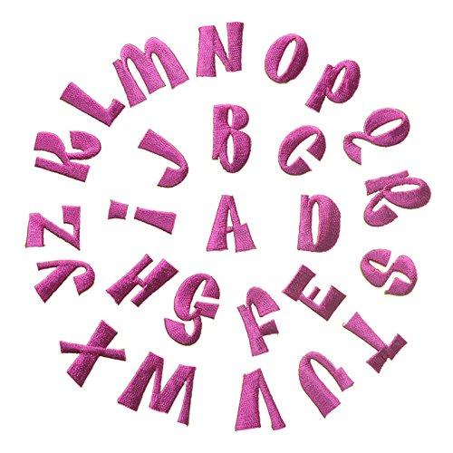 (Feelaa 26 Buchstaben Set Kleidung Aufnäher Aufbügler DIY Patch Applikation Stickerei für Jeans, Jacken, Hosen (Pink))