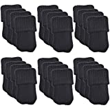 Lot de 24laine à tricoter Chaussettes Meubles/chaise jambe sol Protection d'écran (couleur: noir)