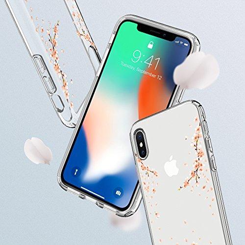 iPhone X Hülle, Spigen® [Liquid Crystal] Soft Flex Silikon [Qi-kompatibel] Transparent / Muster / Glitzer Design Handyhülle TPU Schutzhülle für iPhone X Case Cover LC Blossom Crystal Clear