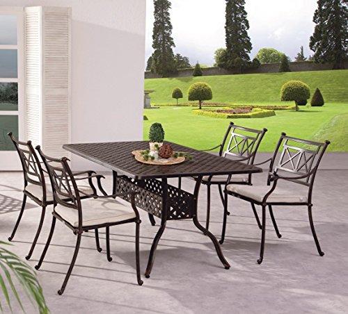 Gartengruppe Garten Set Tisch 4 Stühle Alu Guss massiv bronze weiß wetterfest, Farbe:Bronze