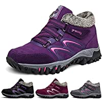 gracosy Women Flat Walking Hiking Ankle Boots, Winter Low Rise Slip On Trekking Footwear Anti-Slip Shoes Fur Lined Outdoor Lace Up Lightweight Breathable Warm Snow Boots Running Boots Purple 5 UK