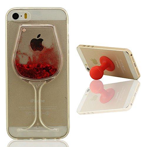 Mini-Goblet Original Conception - iPhone SE étui de Protection Liquide Eau Style Clair Transparent Souple Silicone Gel Mince Case Coque pour Apple iPhone 5 5S + Silicone Titulaire Rouge