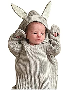 Baby Schlafsack Hase ,Baby Schlafsack mit Kapuze Swaddle Wrap Super Fluffy Double Layers Anti-Kicking Schlafsack...