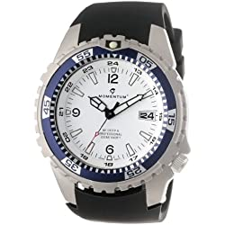 Momentum M1 Deep 6 Men's Quartz Watch with White Dial Analogue Display and Black Rubber Strap 1M-DV06W4B