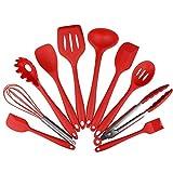 Anguang Non Stick Silikon Küche Set hitzebeständige Silikon Küchenutensilien 10 Premium Silikon Sets Silikon Küchenartikel Rot 10 Pcs