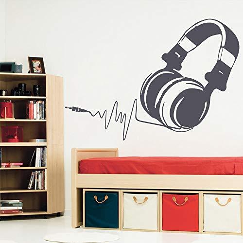 Erstaunliche Musik Headset Wandaufkleber Abnehmbare Mode raumdekoration Zubehör Wandtattoos für Kinderzimmer schlafzimmer Dekor grau L 43 cm X 36 cm